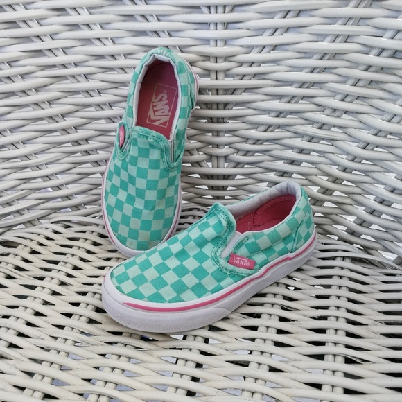 buy real compare price shop for 11.5 Girls Unisex Classic teal mint pink checker